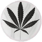 Cannabis Sativa, Marijuana Leaf Round Beach Towel