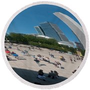 Chicago City Scenes Round Beach Towel