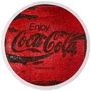 Coca Cola Classic Vintage Rusty Sign Round Beach Towel