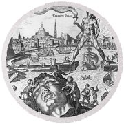 Colossus Of Rhodes Round Beach Towel