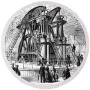 Corliss Steam Engine, 1876 Round Beach Towel