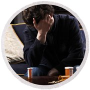 Depression And Addiction Round Beach Towel by Photo Researchers, Inc.