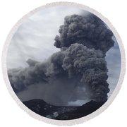 Eyjafjallajökull Eruption, Iceland Round Beach Towel