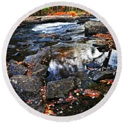 Fall Forest And River Landscape Round Beach Towel