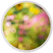 Flower Garden In Sunshine Round Beach Towel