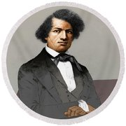 Frederick Douglass, African-american Round Beach Towel by Photo Researchers
