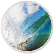 Glassy Breaking Wave Round Beach Towel
