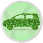 Green Car Round Beach Towel