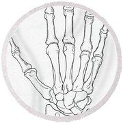 Hand And Wrist Bones Round Beach Towel