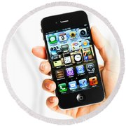 Hand Holding An Iphone Round Beach Towel by Photo Researchers