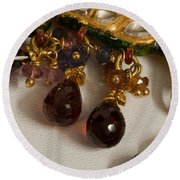 3 Hanging Semi-precious Stones Attached To A Green And Gold Necklace Round Beach Towel