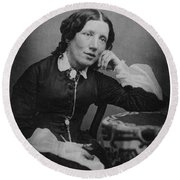 Harriet Beecher Stowe, American Round Beach Towel by Photo Researchers