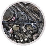 Hdr Image Of A German Army Soldier Round Beach Towel