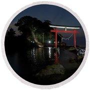 3 Kawasaki W At The Arahira Shrine Round Beach Towel