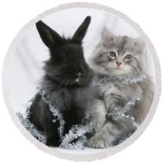 Kitten And Rabbit Getting Into Tinsel Round Beach Towel