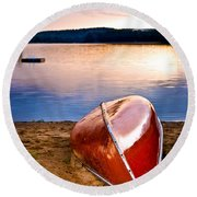 Lake Sunset With Canoe On Beach Round Beach Towel
