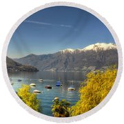 Lake With Snow-capped Mountain Round Beach Towel