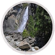 Lower Yosemite Falls Round Beach Towel