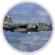 Mirage F1cr Of The French Air Force Round Beach Towel