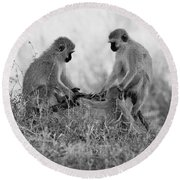 3 Monkeys Hey Its Not A Wig Round Beach Towel