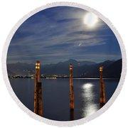 Moon Light Over An Alpine Lake Round Beach Towel