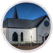 Norwegian Church Cardiff Bay Round Beach Towel