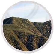 Ojai Valley With Snow Round Beach Towel