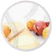 Onions Round Beach Towel by Tom Gowanlock