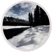 Open Water In Winter Round Beach Towel by Mark Duffy