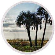 3 Palms On The Beach Round Beach Towel