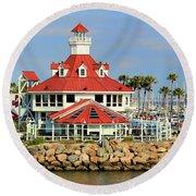 Parker's Lighthouse Restaurant Round Beach Towel