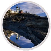Pemaquid Point Lighthouse Round Beach Towel by Brian Jannsen