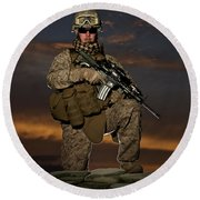 Portrait Of A U.s. Marine In Uniform Round Beach Towel by Terry Moore