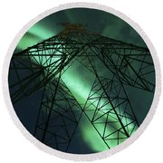 Powerlines And Aurora Borealis Round Beach Towel