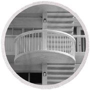 3 Rails In Black And White Round Beach Towel