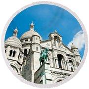 Sacre Coeur Basilica Paris France Round Beach Towel