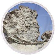 Sarakiniko White Tuff Formations Round Beach Towel