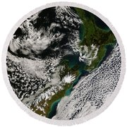 Satellite View Of New Zealand Round Beach Towel