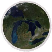 Satellite View Of The Great Lakes Round Beach Towel by Stocktrek Images