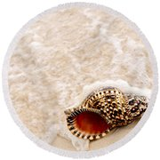 Seashell And Ocean Wave Round Beach Towel