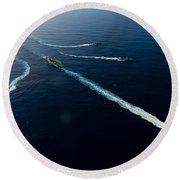 Ships From The John C. Stennis Carrier Round Beach Towel