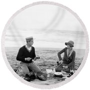 Silent Film Still: Picnic Round Beach Towel