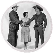 Silent Film Still: Western Round Beach Towel