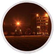 Sodium Vapor Lights On College Campus Round Beach Towel