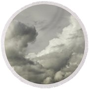 Storm Clouds And Thunder Heads Before Rain Storm Fine Art Print Round Beach Towel