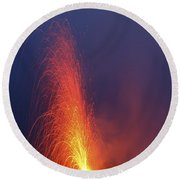 Stromboli Eruption, Aeolian Islands Round Beach Towel
