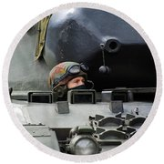 Tank Driver Of A Leopard 1a5 Mbt Round Beach Towel by Luc De Jaeger