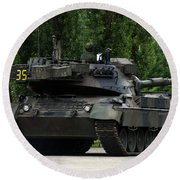 The Leopard 1a5 Mbt Of The Belgian Army Round Beach Towel by Luc De Jaeger