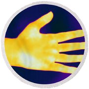 Thermogram Of A Hand Round Beach Towel