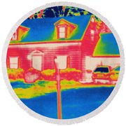 Thermogram Of A House Round Beach Towel